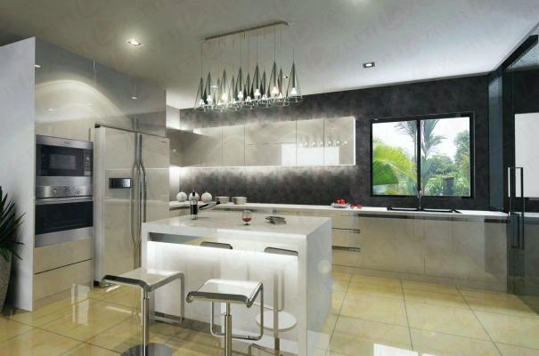 Dry Kitchen with white & dark grey combination