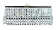Silver Stone Studded Clutch (Shimmering Silver) Modern Clutch Clutches