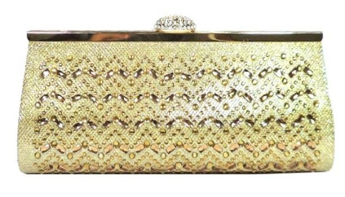 Gold Stone Studded Clutch (Shimmering Gold)
