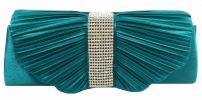 Glossy Satin Party Clutch (Turquoise) Party Clutch Clutches