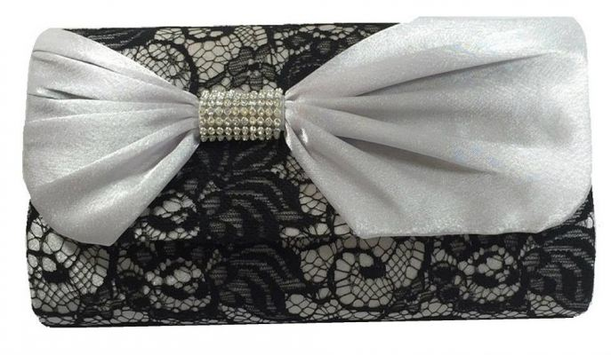 Satin With Ribbon & Lace Design Clutch (Black)