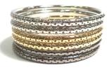 Mix Colour Bangle (Gold/Silver) Bangles Jewellery