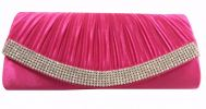 Glossy Satin Stone Party Clutch (Pink) Party Clutch Clutches