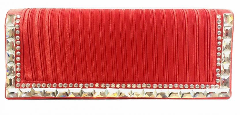 Glossy Satin Stone Party Clutch (Red)