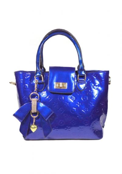 Glossy with KeyChain Top Handle Bag (Blue)