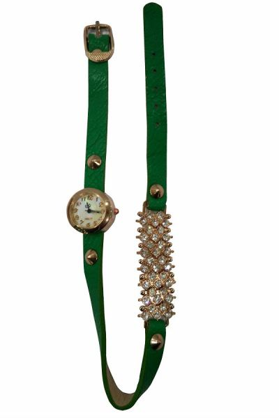 Ladies Designer PU Leather Strap Bracelet RhineStone Wrist Watch (Green)tch (Green)