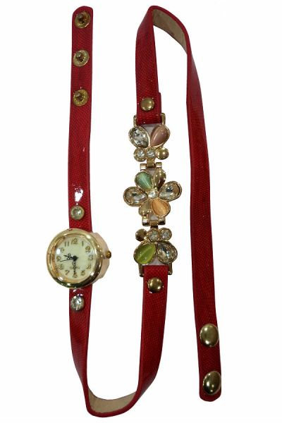 Ladies Designer Flower PU Leather Strap Bracelet Colourful  Stone Wrist Watch (Red)