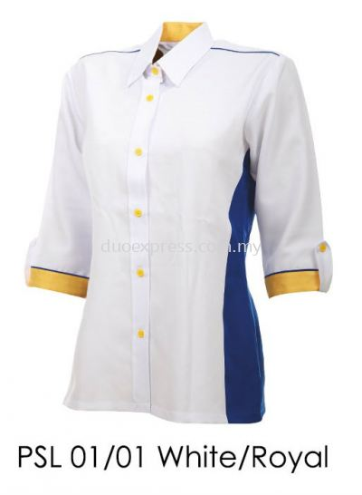 PSL 01 01 White Royal Blue Ladies Corporate Shirt