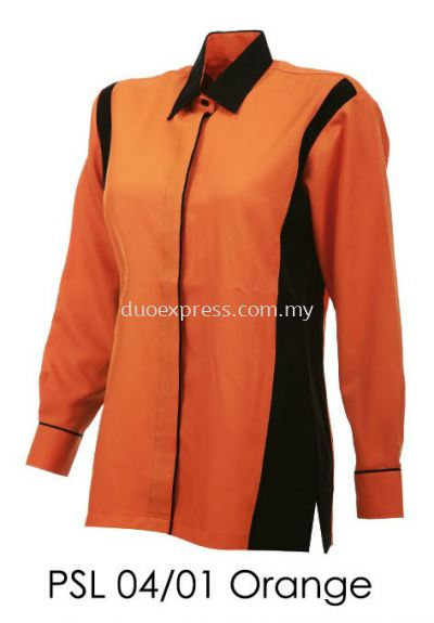 PSL 04 01 Orange Ladies Corporate Shirt