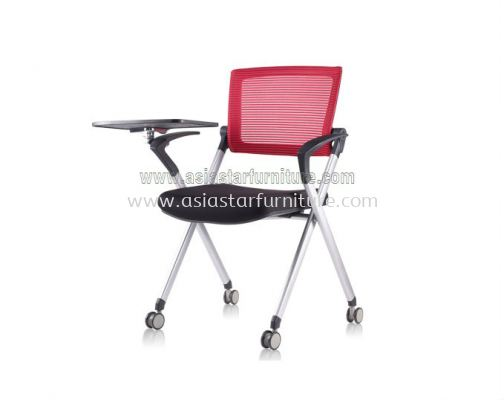 AEXIS 1 FOLDING MESH CHAIR C/W CASTOR, ARMREST & TABLET ACL 227