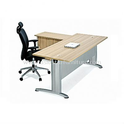 RECTANGULAR WRITING TABLE METAL J-LEG C/W METAL MODESTY PANEL & SIDE CABINET SET BT188 (FRONT)