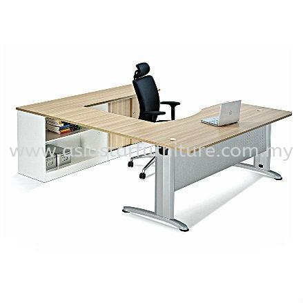 BERLIN L-SHAPE TABLE METAL J-LEG C/W STEEL MODESTY PANEL WITH SIDE CABINET ABMB 11 FULL SET