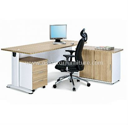 RECTANGULAR WRITING TABLE METAL J-LEG C/W STEEL MODESTY PANEL WITH SIDE CABINET & MOBILE PEDESTAL 3D SET BT188 (INNER)