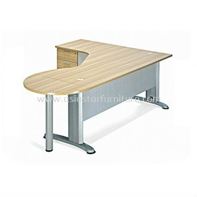 L-SHAPE PENTAGON TABLE METAL J-LEG C/W FIXED PEDESTAL & SIDE HALF ROUND CONNECTION BMB44