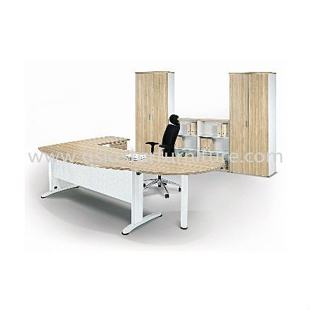 BERLIN EXECUTIVE OFFICE TABLE D-SHAPE CURVE METAL J-LEG C/W STEEL MODESTAY WITH SIDE CABINET & SIDE DISCUSSION TABLE ABMB55 (INNER)