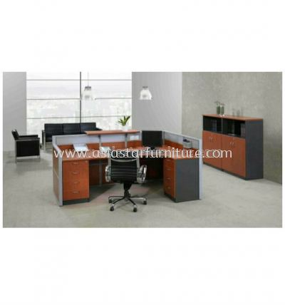 superior l-shape reception table with 2 fixed pedestal