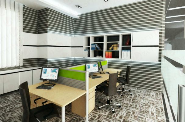 Account room with suspended cabinet with Wallpaper stripe line