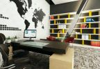 Selected World Map wallpaper blend with book cabinet open concept design Director Room Modern Interior Design for JiaCheng Engineering Office in Shanghai, China.