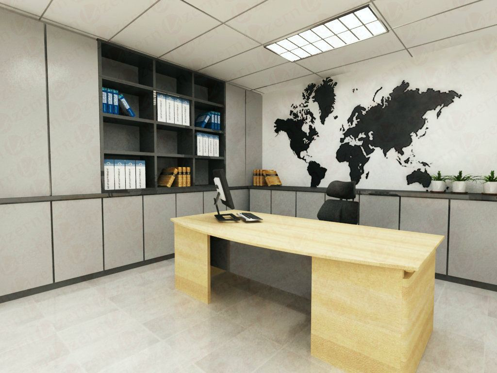 simple world map with grey cabinet director room modern interior
