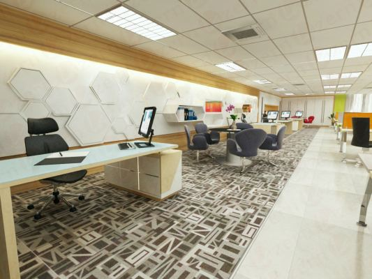 Manager area with exclusive backdrop design & carpet flooring
