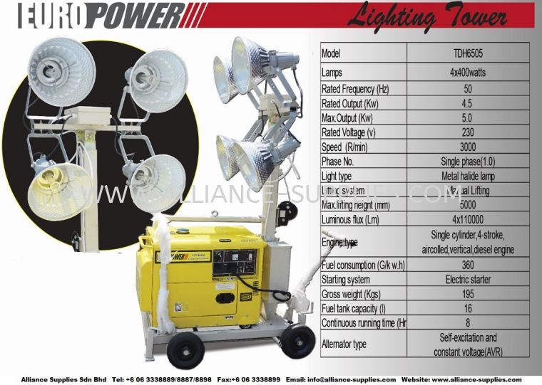 Europower Mobile Light Tower 230V