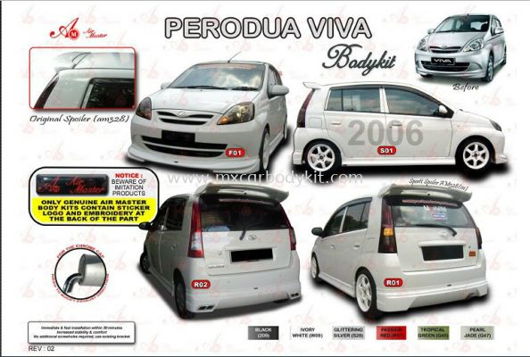 PERODUA VIVA 2006 AIR MASTER BODY KIT + SPOILER