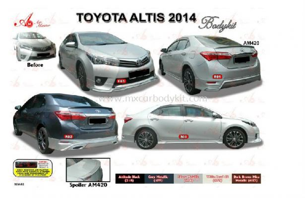 TOYOTA ALTIS 2014 AIR MASTER BODY KIT + SPOILER