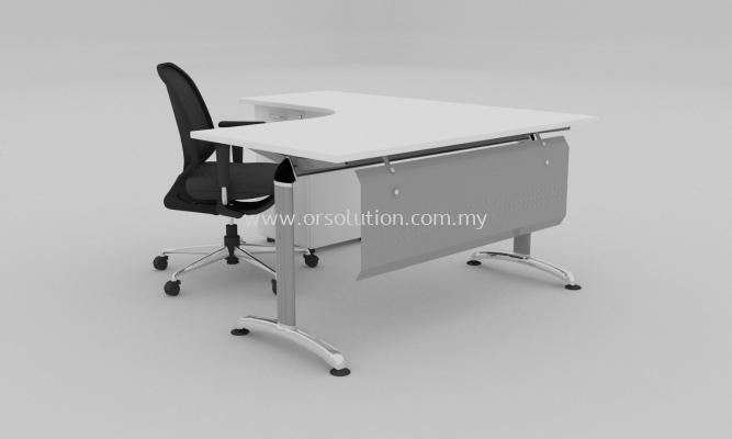 Steel Leg L Shape Table c/w Fix Pedestal FST (120)