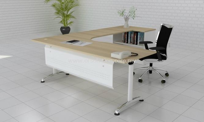 Steel Leg L Shape Table c/w Open Shelf Cabinet FST (181)