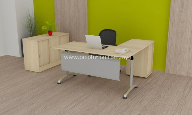 Steel Leg L Shape Table c/w Cabinet FST (41)