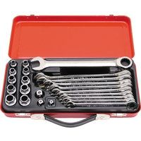 KEN-582-3980K - 10-19mm RATCHET SPANNER &SOCKET SET 23PC Hand Tools Cromwell Tools