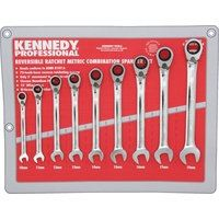 KEN-582-6796K - REVERSIBLE COMBINATION SPANNER SET 9PC Hand Tools Cromwell Tools