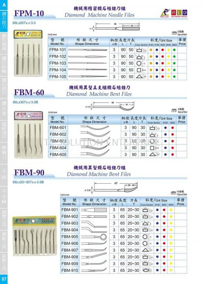 FPM 10 (Diamond Mahcine Needle Files) & FBM 60 (Diamond Machine Bent Files) & FBM 90 (Diamond Machine Bent Files)