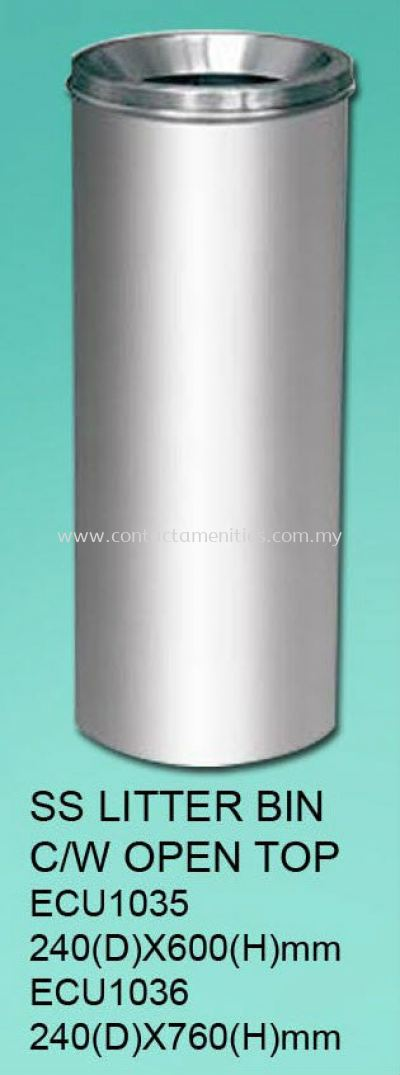 ECU1035/1036 - SS Litter Bin c/w Open Top