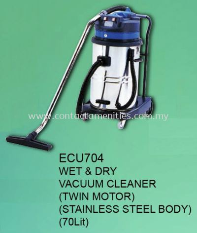 ECU704 - Wet & Dry Vacuum Cleaner (Twin Motor-SS Body-70L)