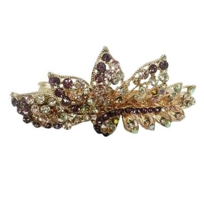 Grand Leaf Design Stone Hair Clip (Purple)
