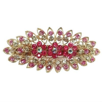 Oval Flower Design Stone Hair Clip (Pink)