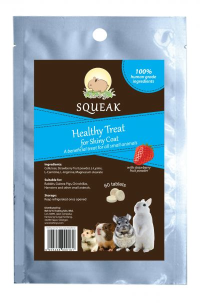 Beh & Yo Squeak Healthy Treats for Shiny Coat Strawberry (60 Tablets)