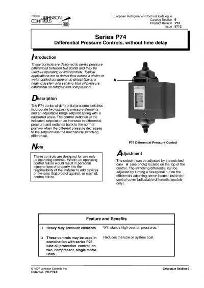 Johnson Controls Series P74 Differential Pressure Controls, Without Time Delay