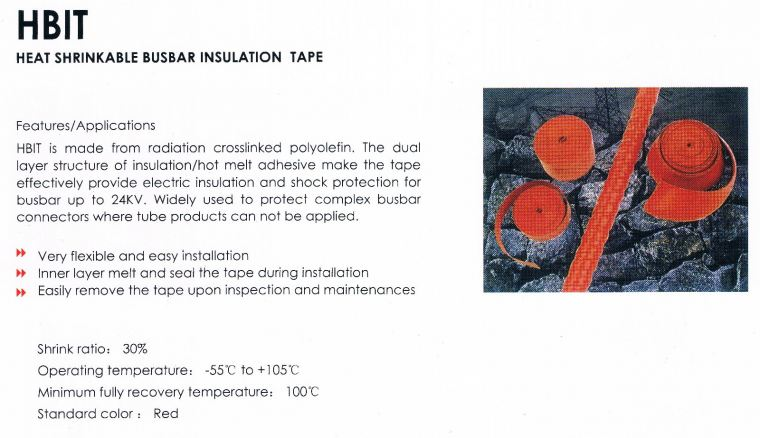 HONGSHANG HBIT Medium Voltage Insulation Tubing Hongshang Heat Shrinkable