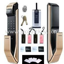 Fingerprint & Push Pull Innovation SAMSUNG SHS-P910 digital door lock keyless touchpad security EZON + Remote + 4pcs of RFID Cards + 4pcs of Key Tags + 4pcs ...