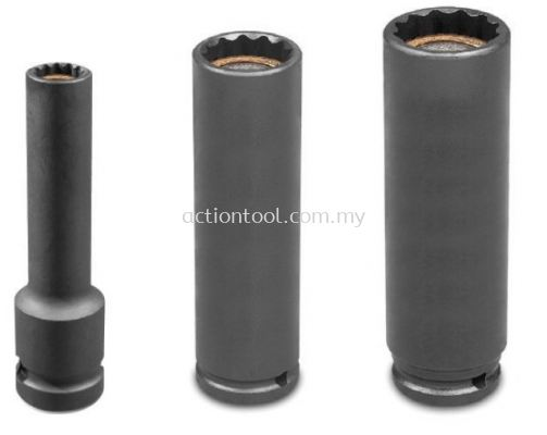 3/8���� Dr.,����SAE���� Deep Length Impact Socket With Slide Magnetic (12-Point)
