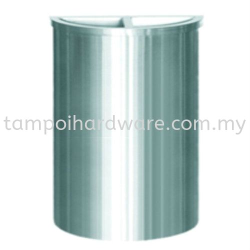 Stainless Steel Semi Round Bin complete with Half Ashtray Half Open Top   SRB-037SS Stainless Steel Rubbish Bin Hygiene and Cleaning Tools