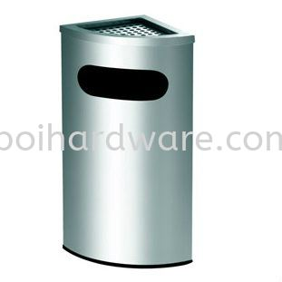 Stainless Steel Corner Bin complete with Ashtray Top Stainless Steel Rubbish Bin Hygiene and Cleaning Tools