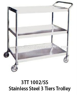 3T 1002SS# Stainless Steel 3 Tiers Trolley   91.5L x 61W x 91.5H   cm