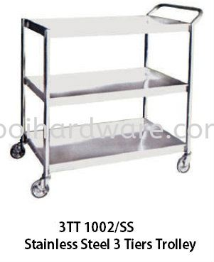 3T 1002SS# Stainless Steel 3 Tiers Trolley   91.5L x 61W x 91.5H   cm Trolley Hygiene and Cleaning Tools