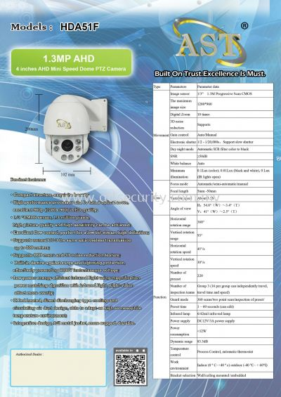 1.3MP AHD Mini Speed Dome PTZ Camera HDA51F