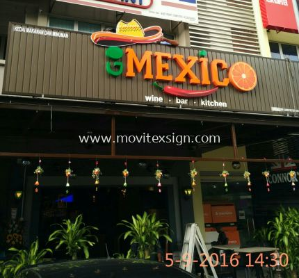 Neon sign n Led 3D chennal letters with Aluminum panal Bronze for Restaurant wine /Bar/kitchen
