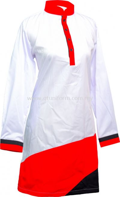 READY MADE UNIFORM MUSLIMAH H0712 (White & Red & Black)