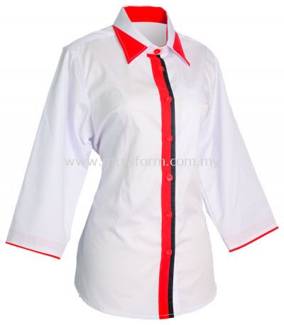 READY MADE UNIFORM F0712 (White & Red & Black)